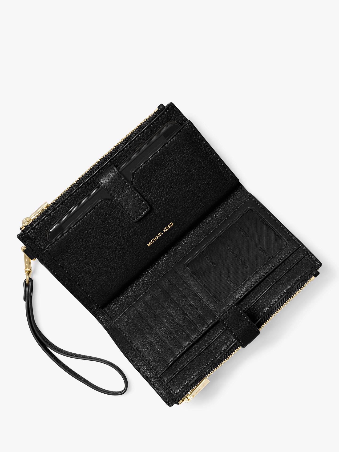967805b645a758 Buy MICHAEL Michael Kors Pouches & Clutches Leather Wristlet Purse, Black  Online at johnlewis.