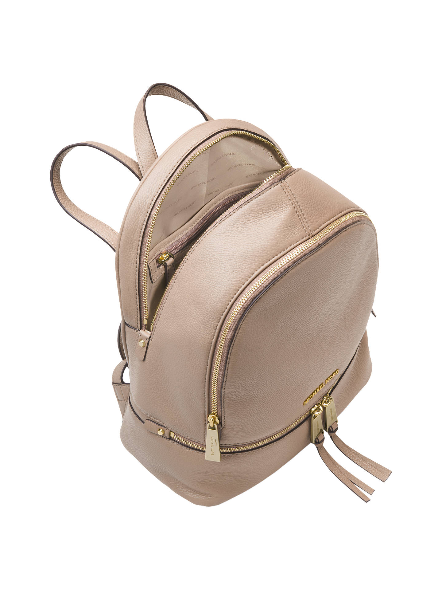 d3def84bb85e1f ... Buy MICHAEL Michael Kors Rhea Leather Medium Backpack, Truffle Online  at johnlewis.com ...