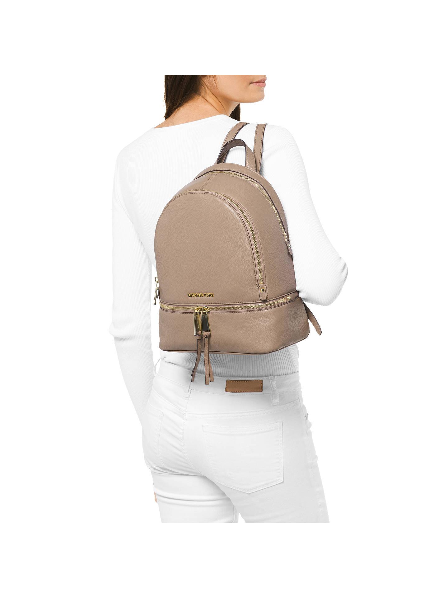 898a1ba35a2e ... Buy MICHAEL Michael Kors Rhea Leather Medium Backpack, Truffle Online  at johnlewis.com