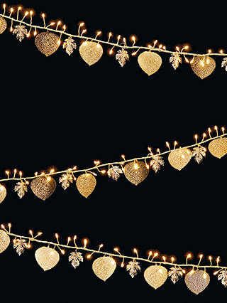 Buy John Lewis & Partners 240 LED Leaf Line Lights, Gold, 11m Online at johnlewis.com