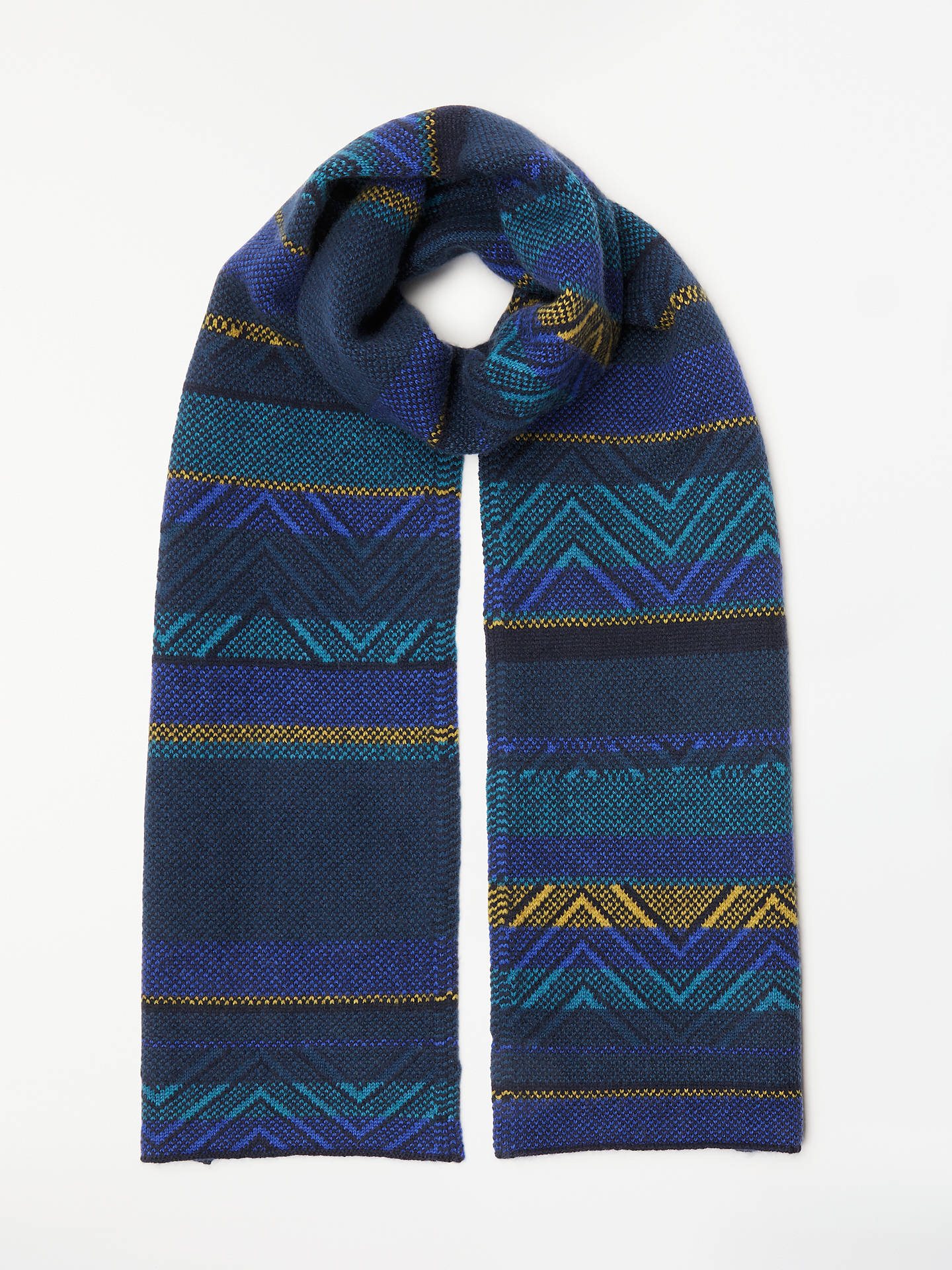 BuyJohn Lewis & Partners Chevron Cashmere Scarf, Blue/Multi Online at johnlewis.com