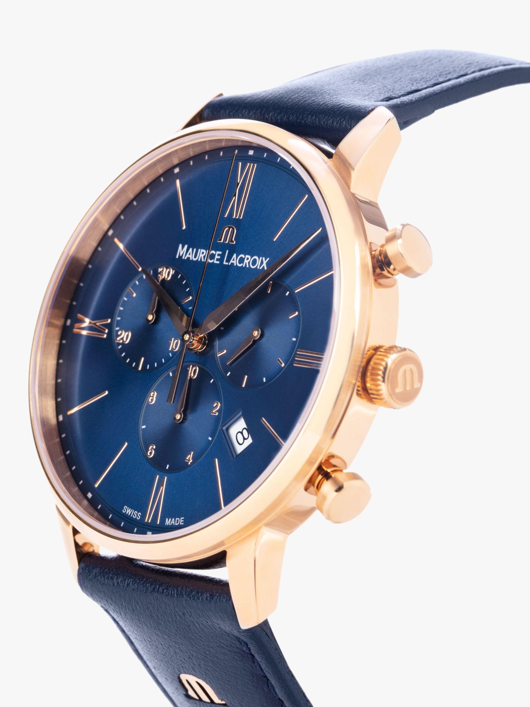 Maurice Lacroix Maurice Lacroix EL1098-PVP01-411-1 Men's Eliros Chronograph Date Leather Strap Watch, Blue