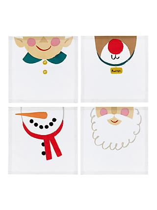 John Lewis & Partners Christmas Character Napkins, Set of 4, Assorted