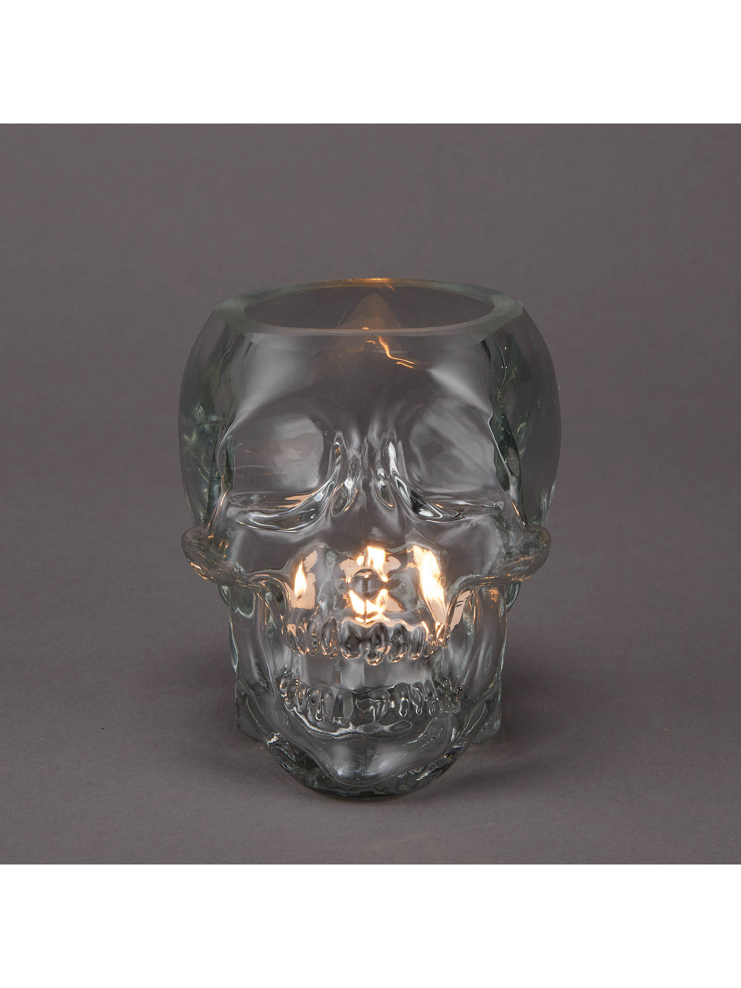 John Lewis Partners Skull Gl Tealight Holder Clear Online At Johnlewis