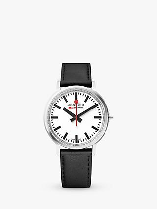 Mondaine MST.4101B.LB Unisex Stop 2 Go Leather Strap Watch, Black/White