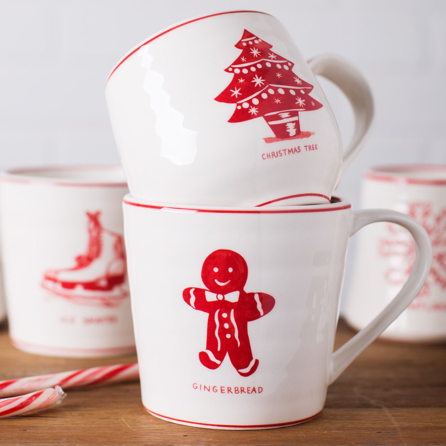 Molly Hatch Vintage Christmas Tree Mug 545ml White Red At John Lewis Partners