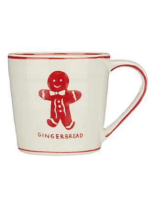 Molly Hatch Vintage Gingerbread Man Mug, 545ml, White/Red