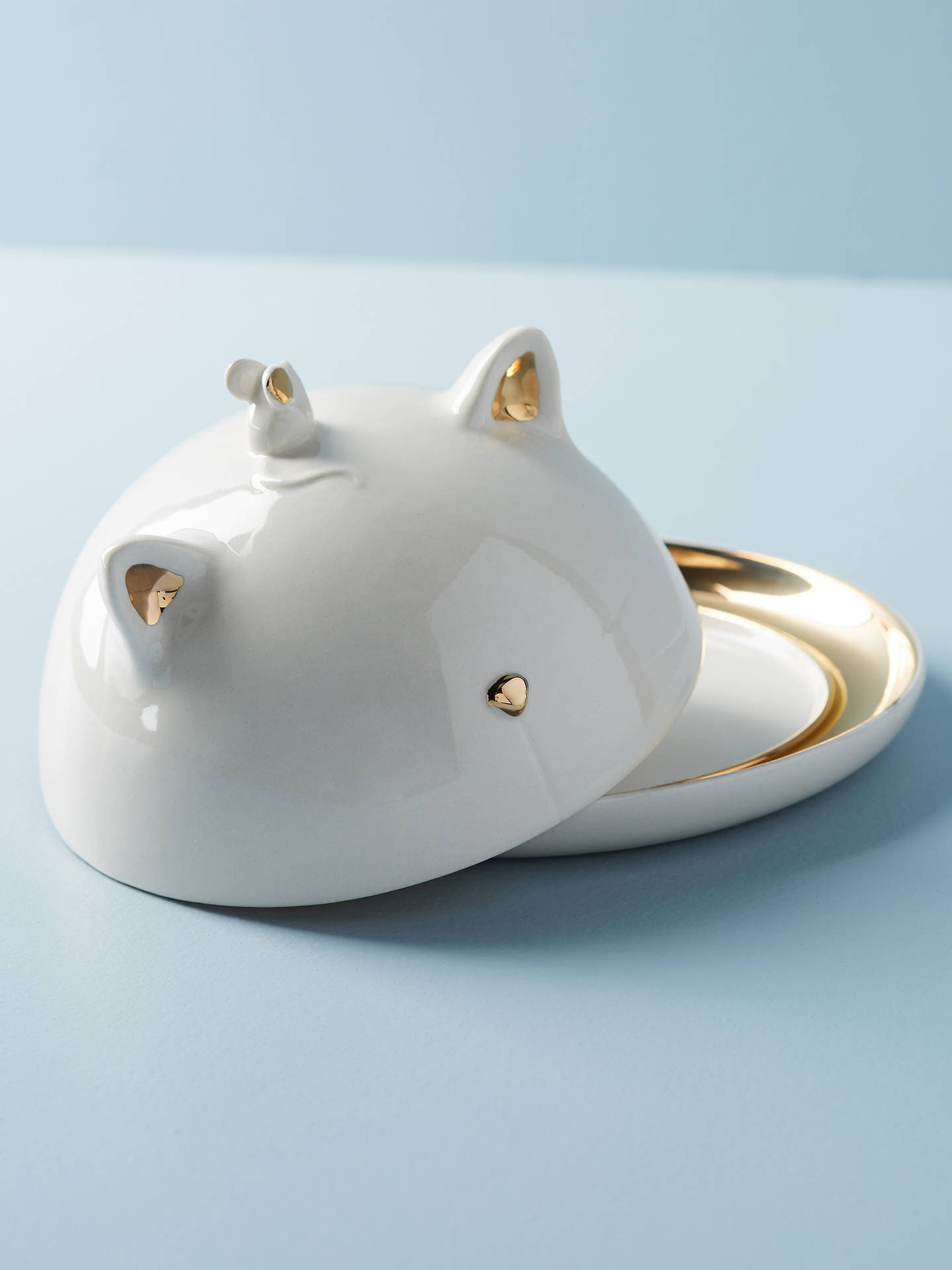 Buy Anthropologie Balou Cat Butter Dish, White Online at johnlewis.com