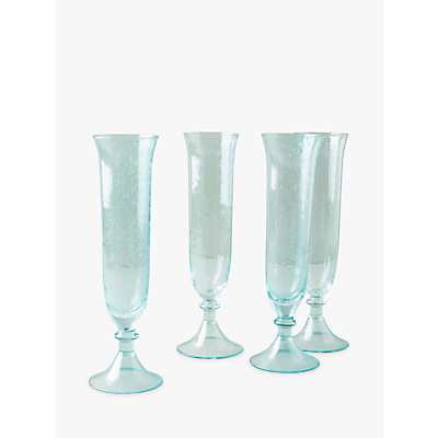 Anthropologie Carra Glass Champagne Flute, 200Ml, Green