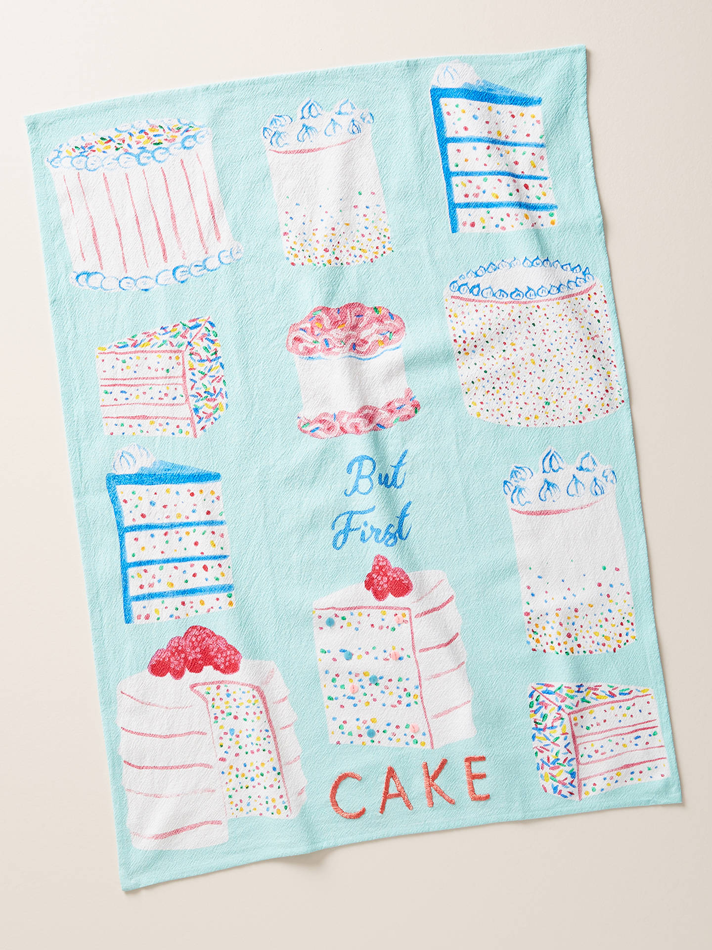 Buy Anthropologie 'But First Cake' Tea Towel Online at johnlewis.com