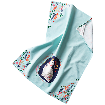 Anthropologie Victoria Johnson Cat Tea Towel, Blue