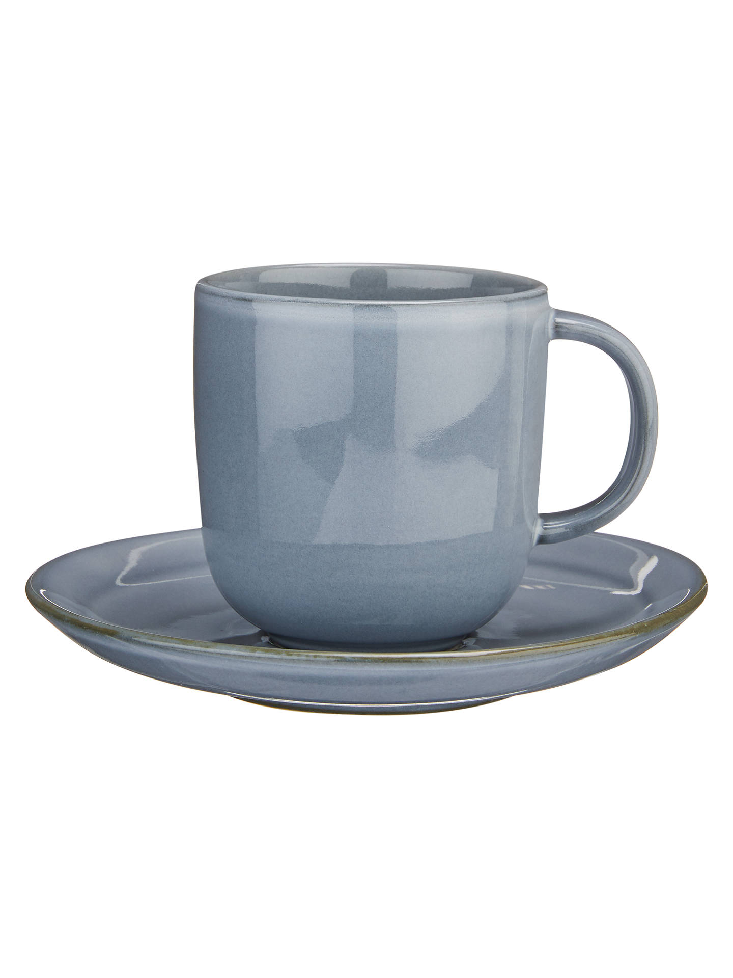 Buy John Lewis & Partners Glaze Double Cup and Saucer, 180ml, Blue Online at johnlewis.com