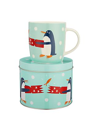 John Lewis & Partners Penguin China Mug In A Money Box Tin, Turquoise, 350ml