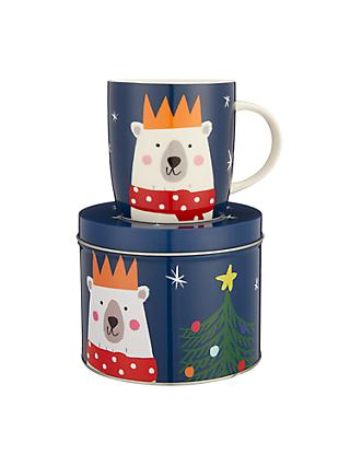 John Lewis & Partners Polar Bear China Mug In A Money Box Tin, Blue, 350ml