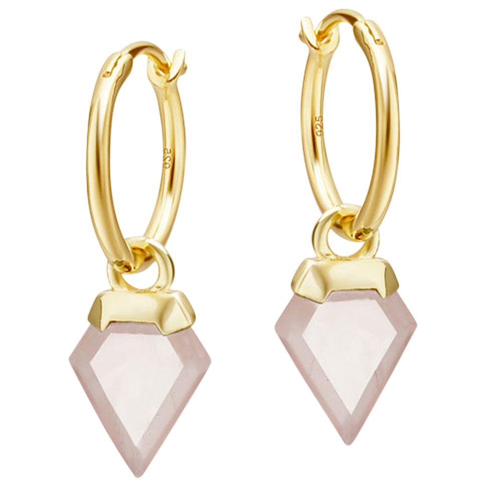 Missoma Missoma Rose Quartz Mini Hoop Earrings, Gold