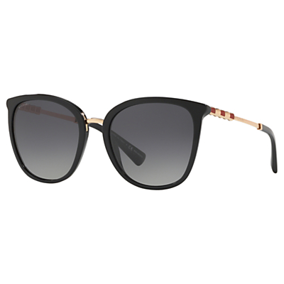 BVLGARI BV8205KB Women's Polarised Oval Sunglasses, Black/Grey Gradient