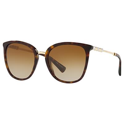 BVLGARI BV8205KB Women's Polarised Oval Sunglasses, Tortoise/Brown Gradient