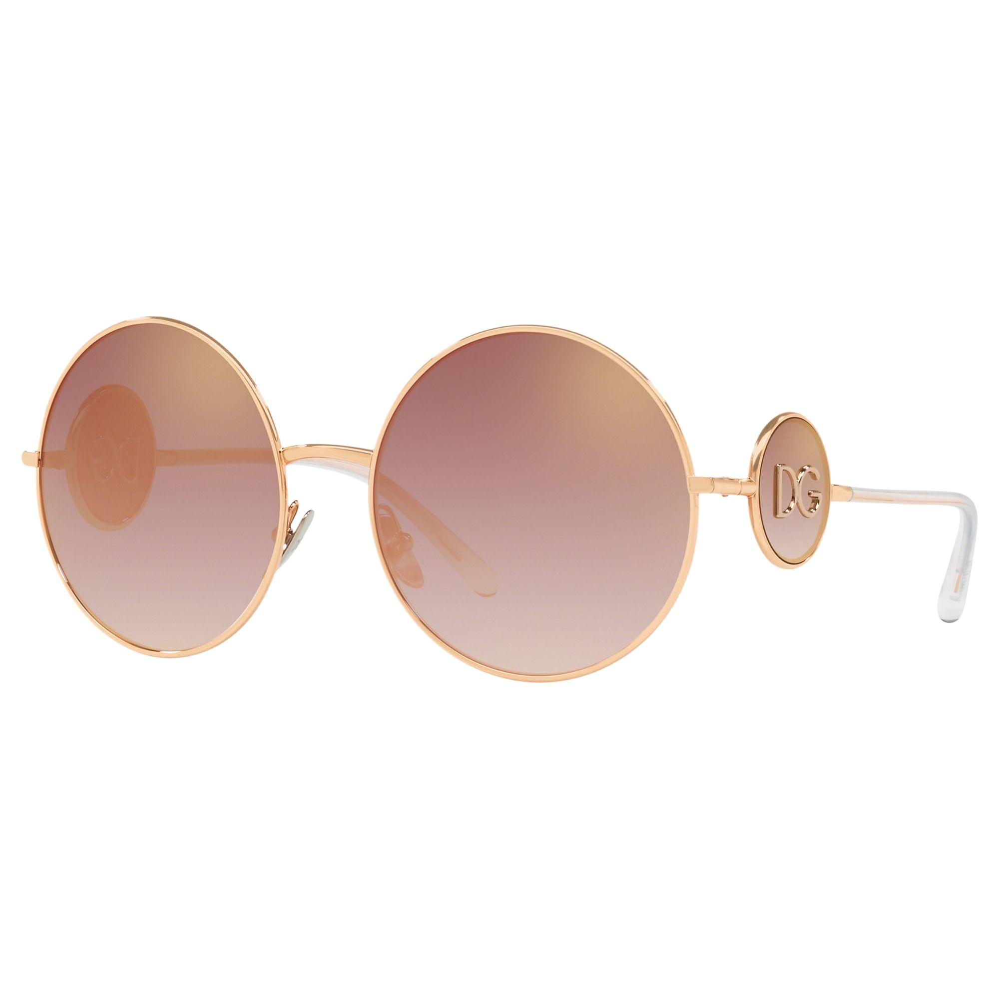 Dolce & Gabbana Dolce & Gabbana DG2205 Women's Round Sunglasses, Gold/Pink