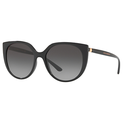 Dolce & Gabbana DG6119 Women's Oval Sunglasses, Black/Grey Gradient