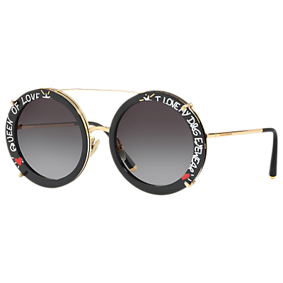 Dolce & Gabbana DG2198 Women's Print Round Sunglasses, Gold/Grey Gradient