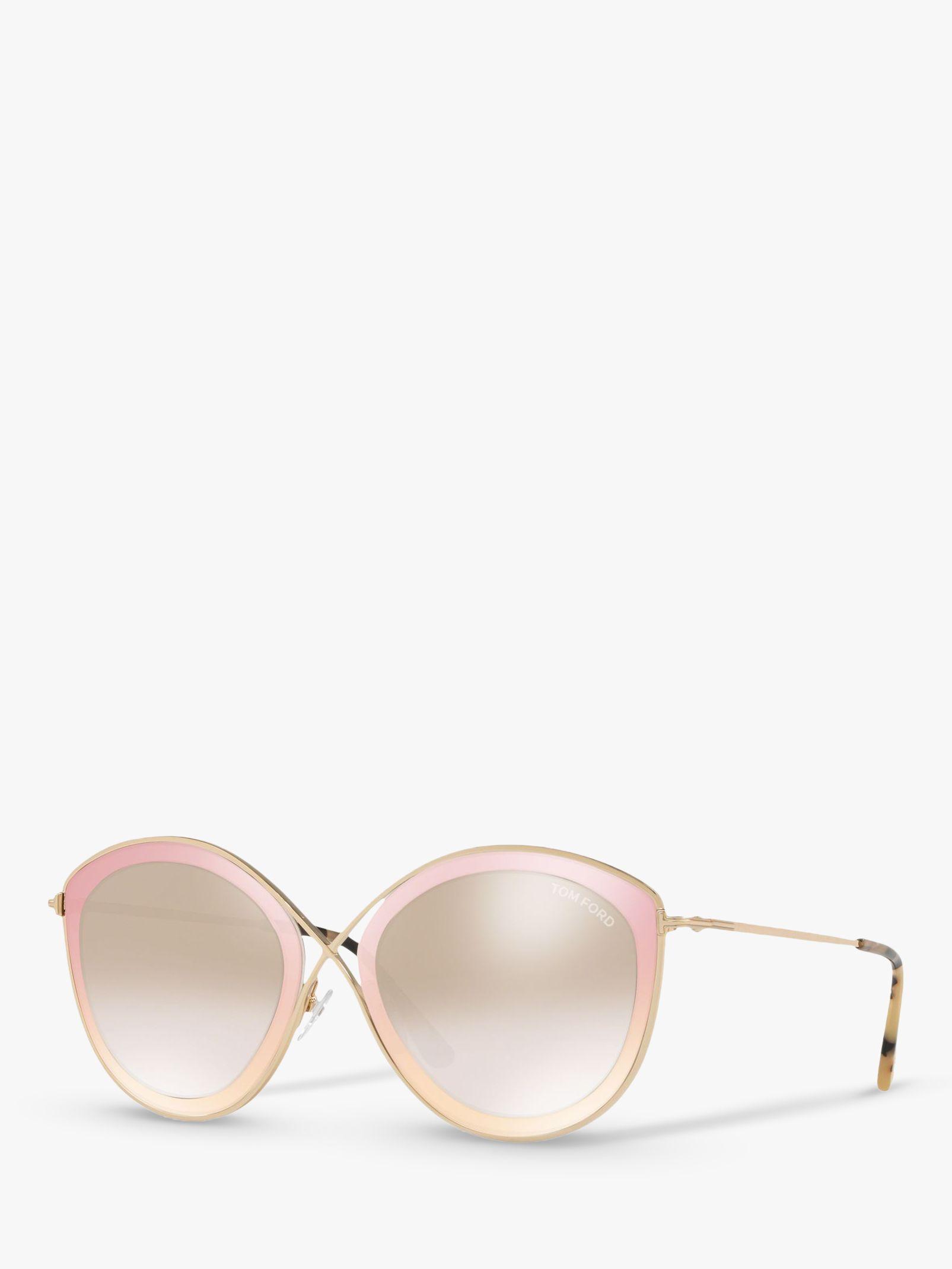Tom Ford TOM FORD FT0604 Women's Sascha Cat's Eye Sunglasses, Gold/Mirror Brown