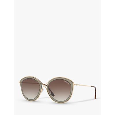 TOM FORD FT0604 Women's Sascha Cat's Eye Sunglasses, Gold/Brown Gradient