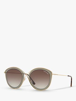 TOM FORD FT0604 Women's Sascha Cat's Eye Sunglasses, Gold/Brown Gradient