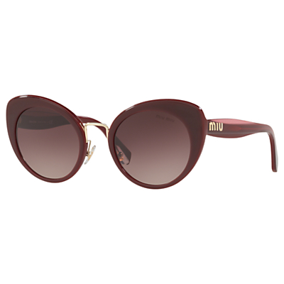 Miu Miu MU 06TS Women's Cat's Eye Sunglasses, Bordeaux/Brown Gradient