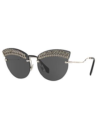 Miu Miu MU 58TS Women's Crystal Embellished Cat's Eye Sunglasses