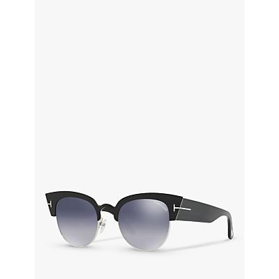 TOM FORD FT0607 Women's Alexandra Cat's Eye Sunglasses, Black/Mirror Grey