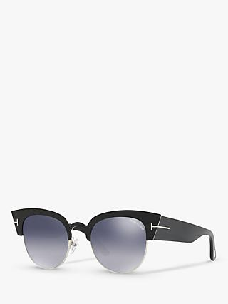 TOM FORD FT0607 Women's Alexandra Cat's Eye Sunglasses, Black/Mirror Grey