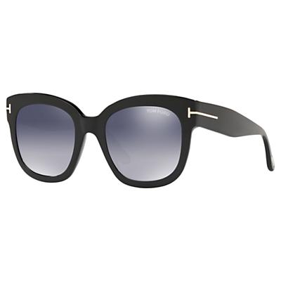 TOM FORD FT0613 Women's Beatrix-02 Square Sunglasses, Matte Black/Mirror Grey