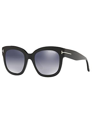 TOM FORD FT0613 Women's Beatrix-02 Square Sunglasses, Matte Black/Mirror Grey