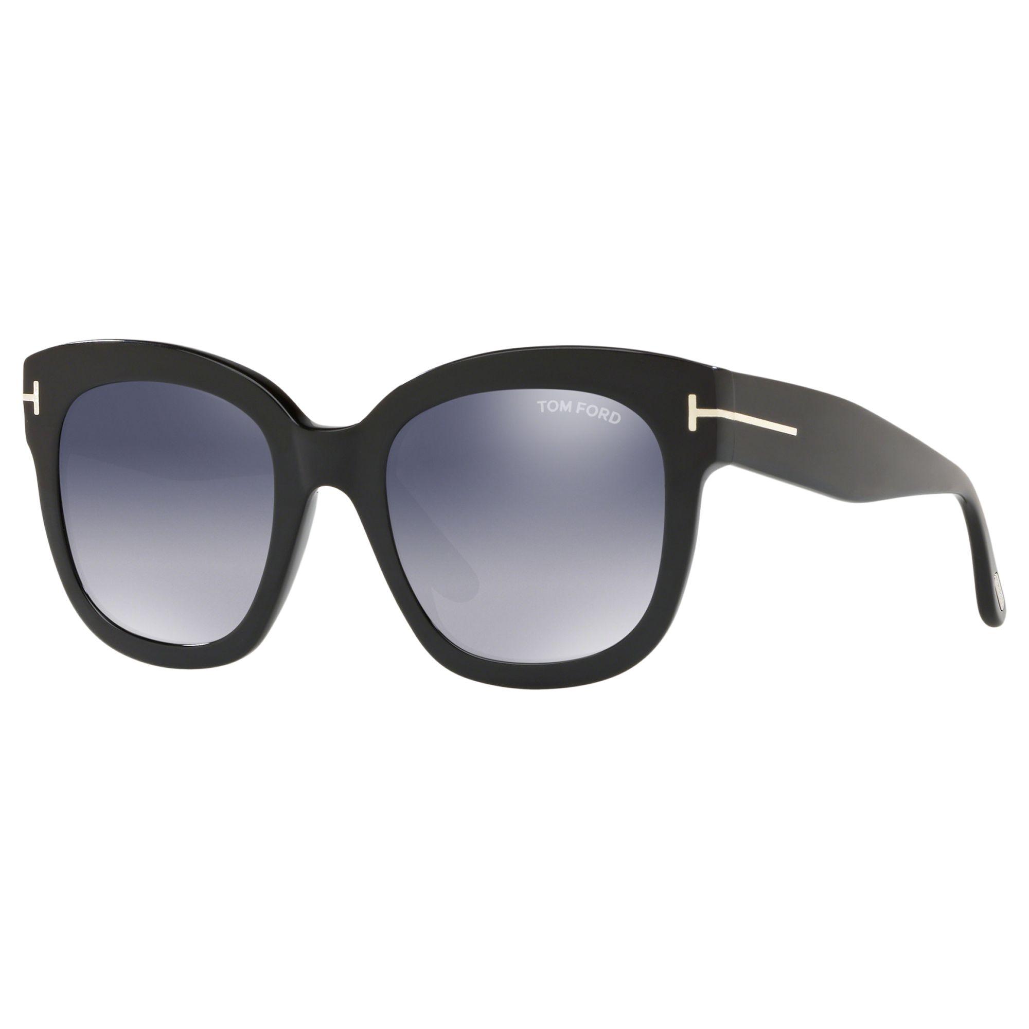 Tom Ford TOM FORD FT0613 Women's Beatrix-02 Square Sunglasses, Matte Black/Mirror Grey