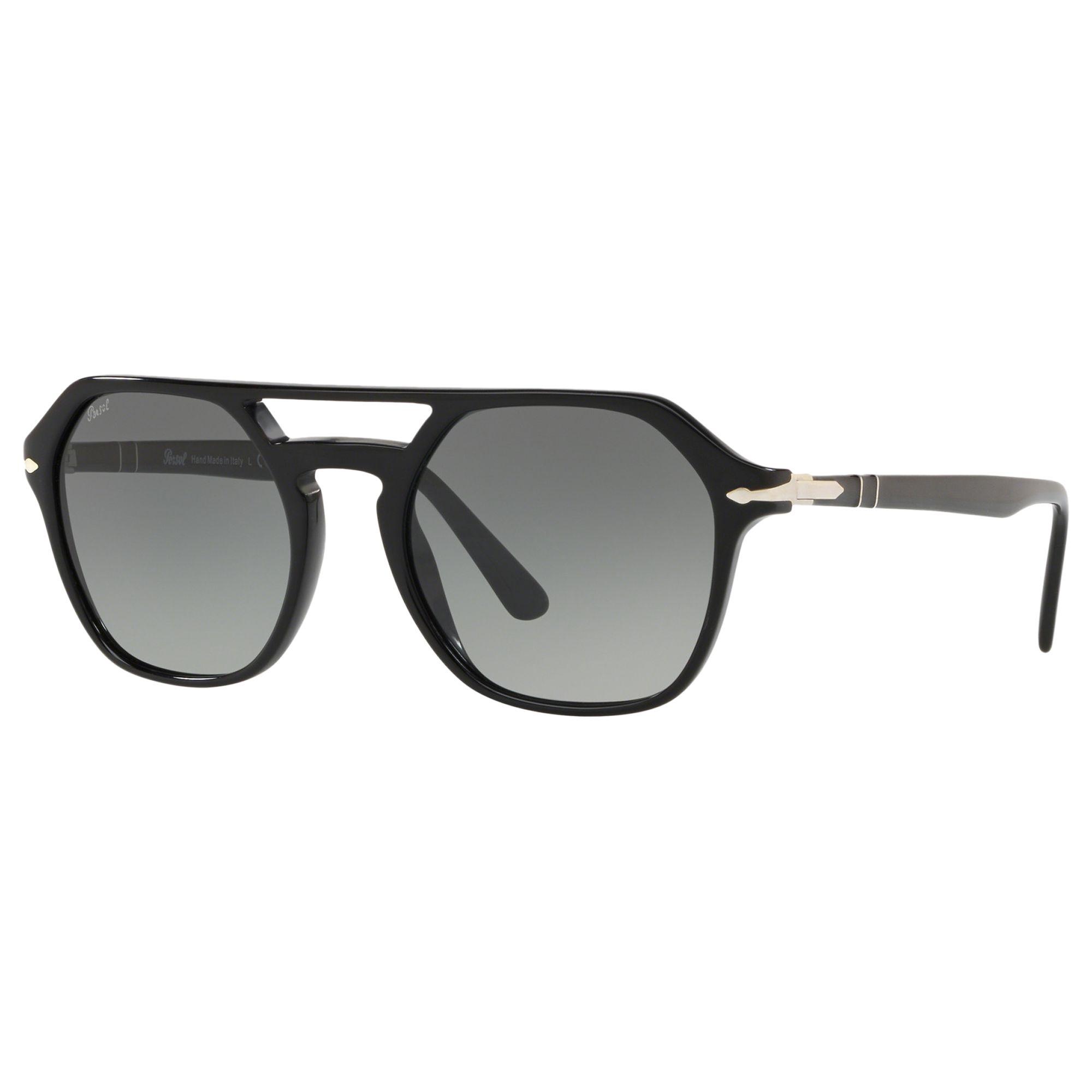 Persol Persol PO3206S Men's Geometric Sunglasses, Black/Grey Gradient