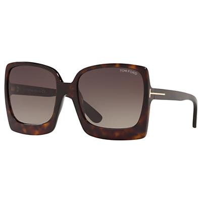 TOM FORD FT0617 Women's Katrine-02 Oversized Square Sunglasses, Tortoise/Brown Gradient