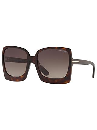 TOM FORD FT0617 Women's Katrine-02 Oversized Square Sunglasses, Tortoise/Brown Gradient