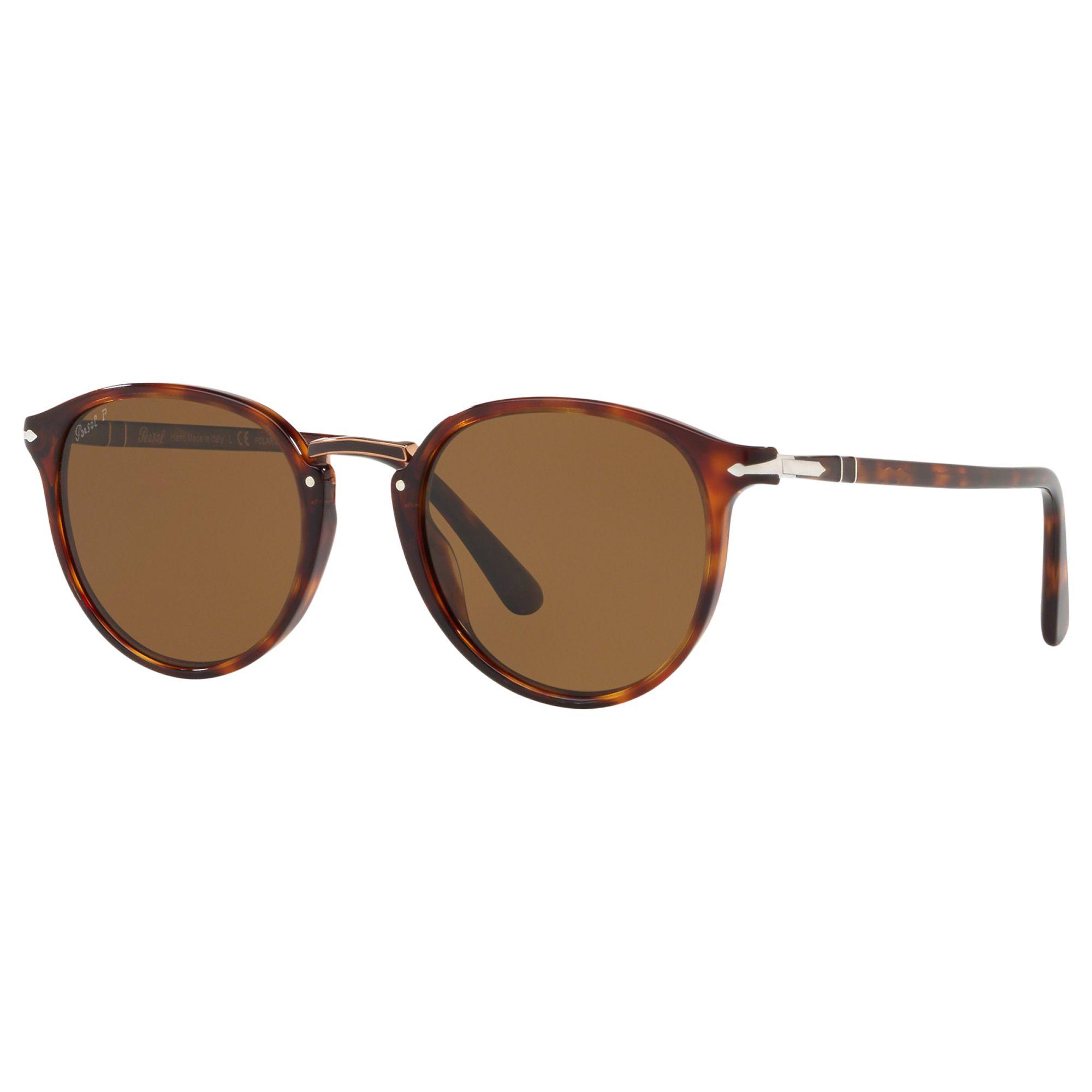 Persol Persol PO3210S Men's Polarised Oval Sunglasses, Tortoise/Brown