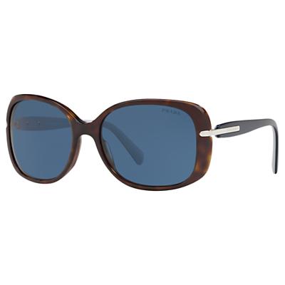Prada PR 08OS Women's Rectangular Sunglasses, Tortoise/Blue