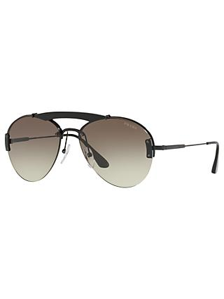 Prada PR 62US Men's Aviator Sunglasses, Black/Green Gradient