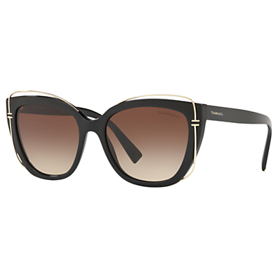 Tiffany & Co TF4148 Women's Cat's Eye Sunglasses, Black/Brown Gradient