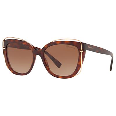 Tiffany & Co TF4148 Women's Cat's Eye Sunglasses, Tortoise/Brown Gradient