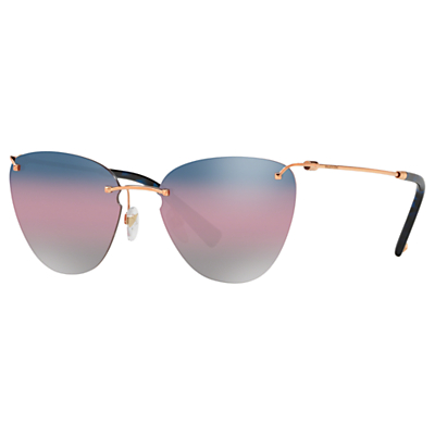 Valentino VA2022 Women's Cat's Eye Sunglasses, Rose Gold/Blue Gradient