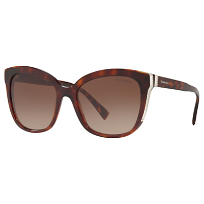 Tiffany & Co TF4150 Women's Embellished Square Sunglasses, Tortoise/Brown Gradient