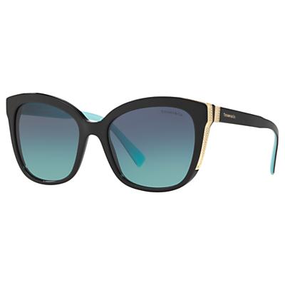 Tiffany & Co TF4150 Women's Embellished Square Sunglasses, Black/Blue Gradient