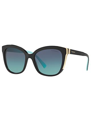 Tiffany & Co TF4150 Women's Embellished Square Sunglasses, Black/Blue Gradient