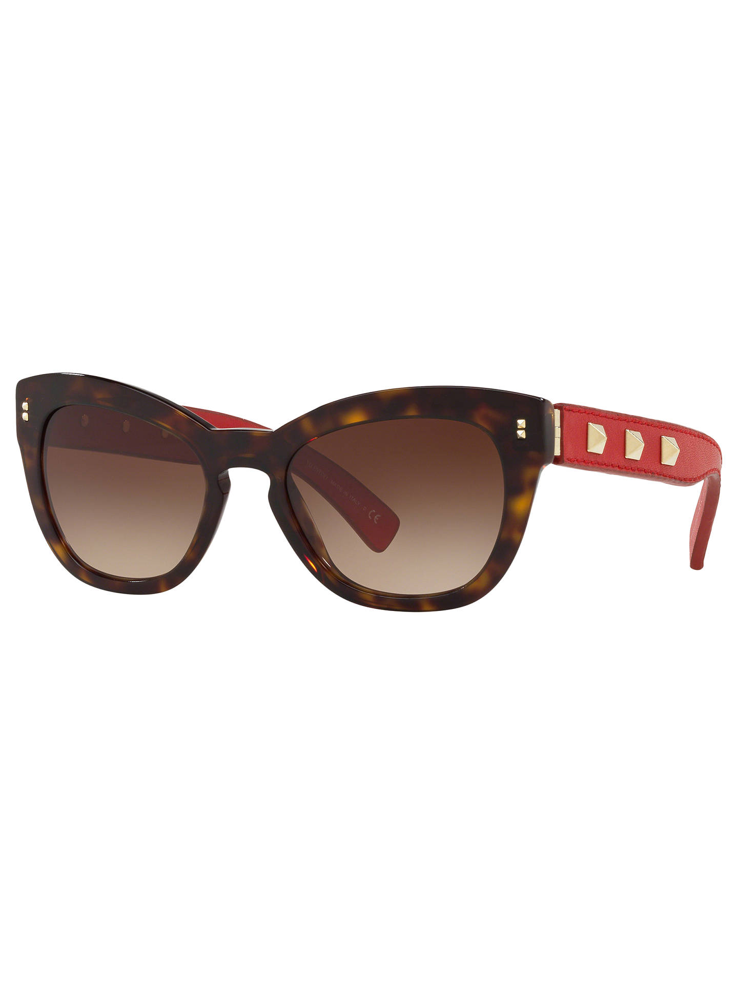 ce470a1270043 Buy Valentino VA4037 Women's Studded Leather Frame Cat's Eye Sunglasses,  Tortoise Red/Brown Gradient ...
