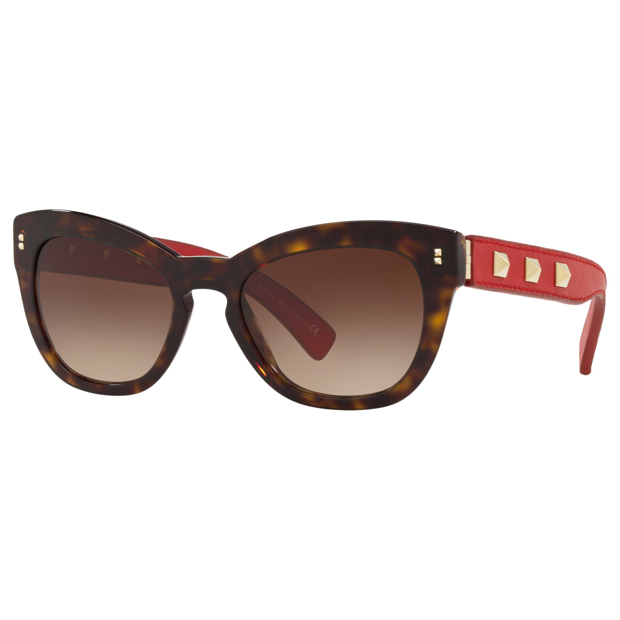 Valentino Valentino VA4037 Women's Studded Leather Frame Cat's Eye Sunglasses, Tortoise Red/Brown Gradient