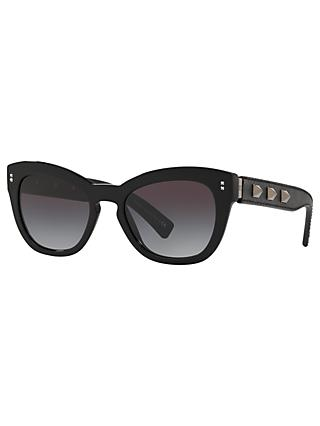 Valentino VA4037 Women's Studded Leather Frame Cat's Eye Sunglasses, Black/Grey
