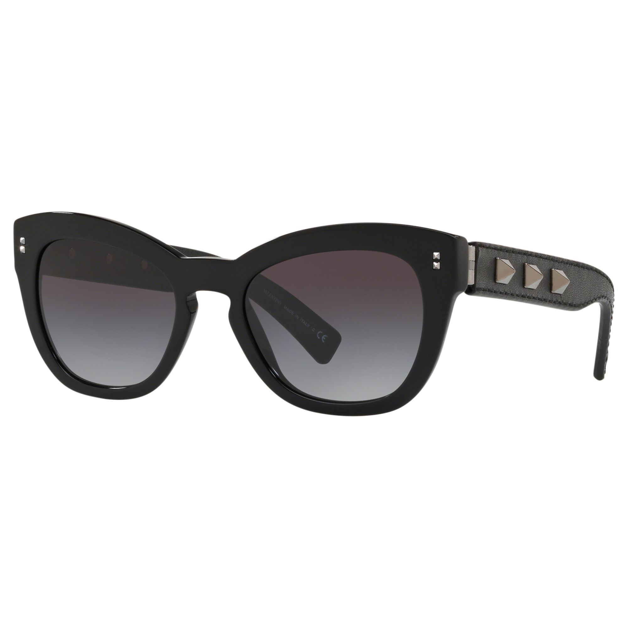Valentino Valentino VA4037 Women's Studded Leather Frame Cat's Eye Sunglasses, Black/Grey